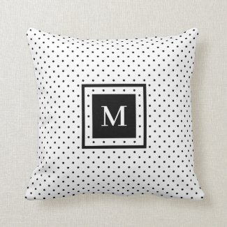 White Black Polka Dot Pattern with Modern Monogram Throw Pillow