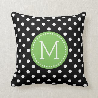 White & Black Polkadot Pattern Green Accents Pillow