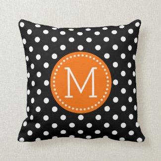 White & Black Polkadot Pattern Orange Accents Throw Pillow