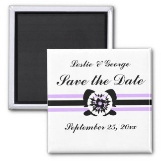 White, black, purple, Floral bow Save the Date Mag 2 Inch Square Magnet