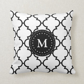 White Black Quatrefoil Pattern Monogrammed Pillow