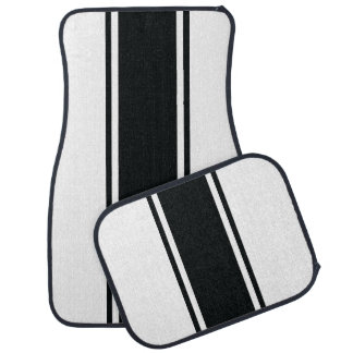 White & Black Racer Stripe Car Mats