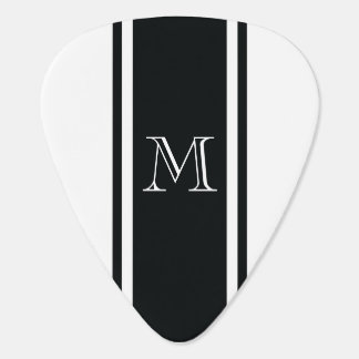 White & Black Racer Stripe Monogram Guitar Pick
