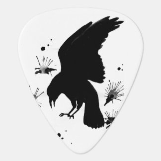 White Black raven nevermore Guitar Pick