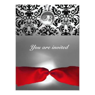 WHITE BLACK RED RIBBON DAMASK GEM STONE MONOGRAM r 6.5x8.75 Paper Invitation Card