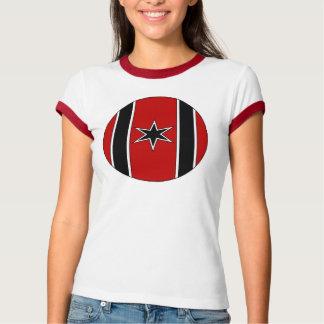 White/Black/Red Shield Laides ringer T Shirt