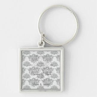 white black rose romance damask keychain