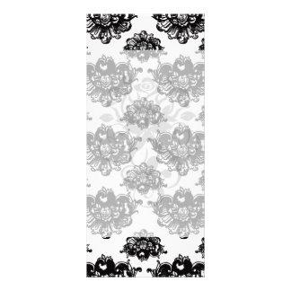 white black rose romance damask rack card design