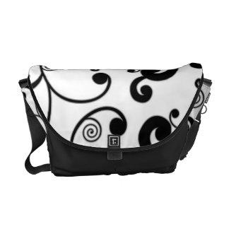 White & Black Scroll Pattern Messenger Bag