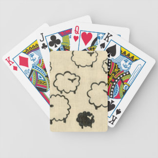White & Black Sheep on Cream Background Bicycle Playing Cards