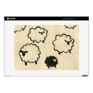 White & Black Sheep on Cream Background Decal For Laptop