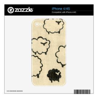 White & Black Sheep on Cream Background iPhone 4S Skins