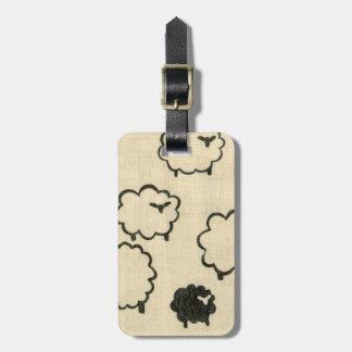 White & Black Sheep on Cream Background Luggage Tag
