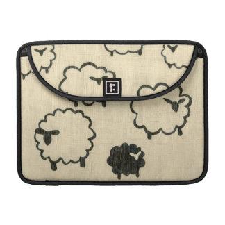 White & Black Sheep on Cream Background MacBook Pro Sleeves