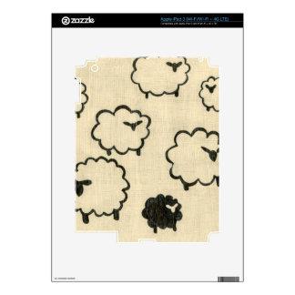 White & Black Sheep on Cream Background Skins For iPad 3