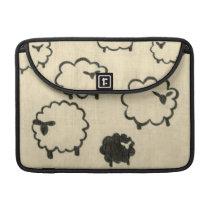 White & Black Sheep on Cream Background Sleeve For MacBook Pro