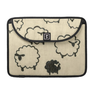 White & Black Sheep on Cream Background Sleeve For MacBook Pro