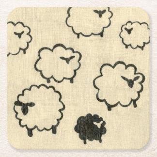 White & Black Sheep on Cream Background Square Paper Coaster