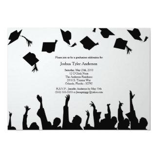 White Black Silhouette Graduation Party Invitation