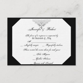 White Black Silver Damask Wedding Response Card