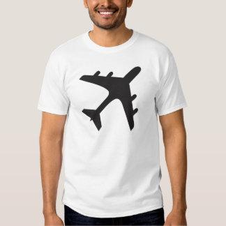White black simple airplane design tshirt