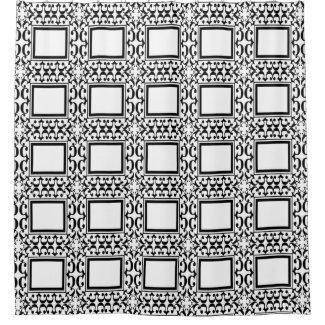 White Black Squares Ornate Curlicue Shower Curtain
