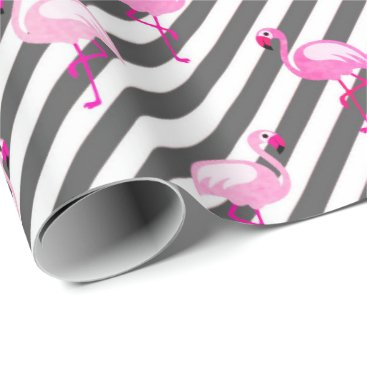 Beach Themed White black stripes tropical bird flamingo pink wrapping paper