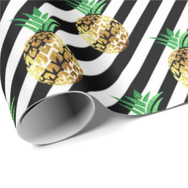 Beach Themed White black stripes tropical fruit pineapple gold wrapping paper