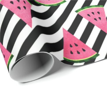 Beach Themed White black stripes tropical fruit watermelon pink wrapping paper