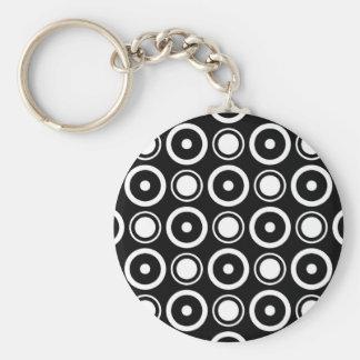 White Black stylish polka dots white background Basic Round Button Keychain