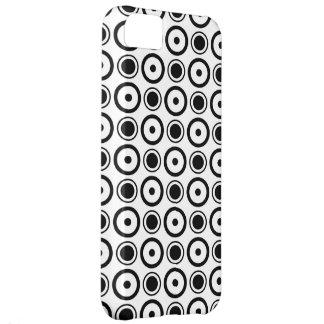 White Black stylish polka dots white background iPhone 5C Cover