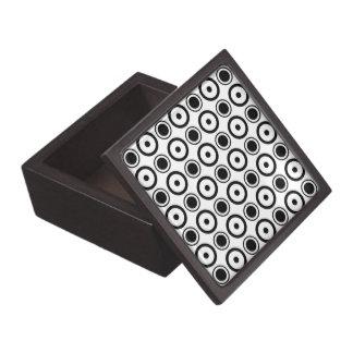 White Black stylish polka dots white background Jewelry Box