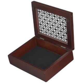 White Black stylish polka dots white background Memory Box
