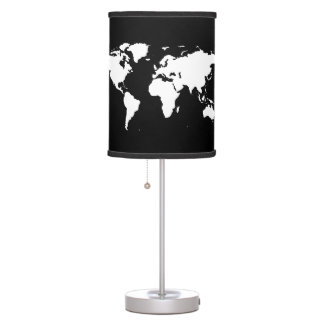white/black stylized world map decor table lamps