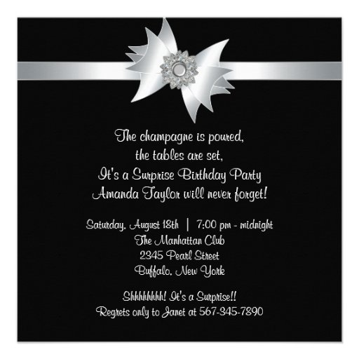 White Black Surprise Birthday Party Invite (back side)