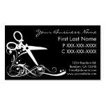 White black swirl hair cutting business cards