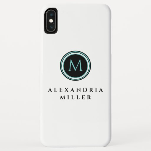 White Black & Teal Monogram Medallion iPhone XS Max Case