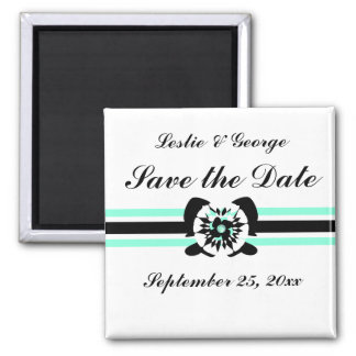White, black, turquoise, Floral bow Save the Date  2 Inch Square Magnet