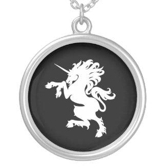 White & Black Unicorn Horse Silver Chain Necklace