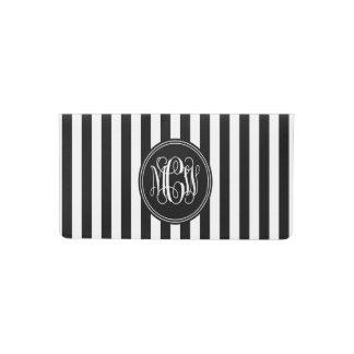 White Black Vert Stripe 6x Bk Vine Script Monogram Checkbook Cover