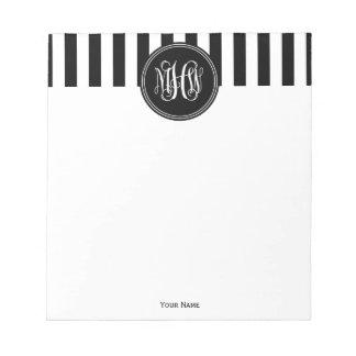 White Black Vert Stripe 6x Bk Vine Script Monogram Notepad