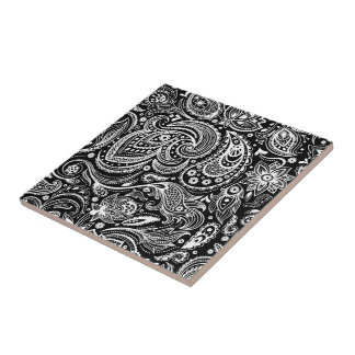 White & Black Vintage Floral Paisley Damasks Tile