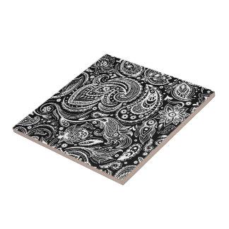 White & Black Vintage Floral Paisley Damasks Tile