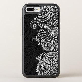 White & Black Vintage Paisley Lace OtterBox Symmetry iPhone 7 Plus Case