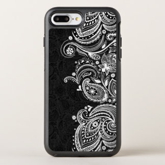 White & Black Vintage Paisley Lace OtterBox Symmetry iPhone 8 Plus/7 Plus Case