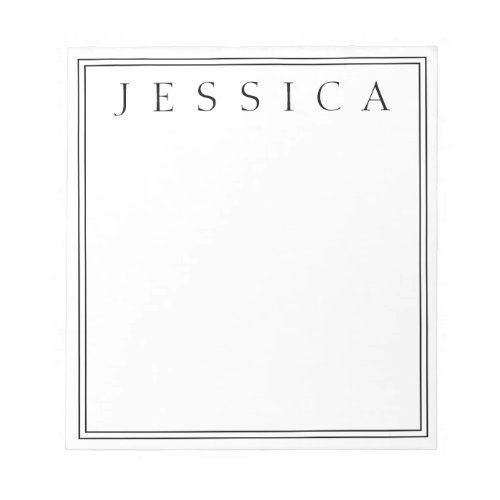 White  Black  Your Name Notepad