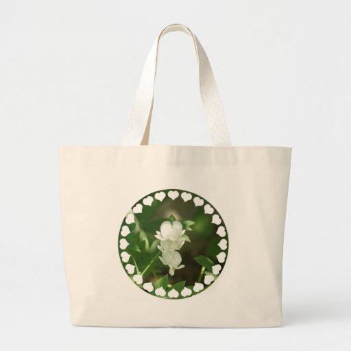 White Bleeding Heart Canvas Bag