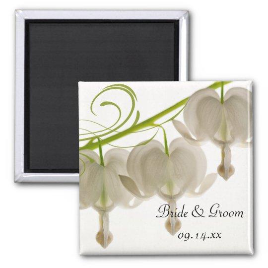 White Bleeding Heart Flowers Wedding Magnet