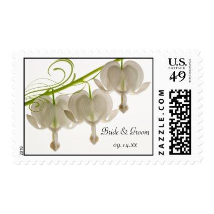 White Bleeding Heart Wedding Postage Stamps