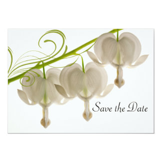 White Bleeding Hearts Flower Wedding Save the Date Card